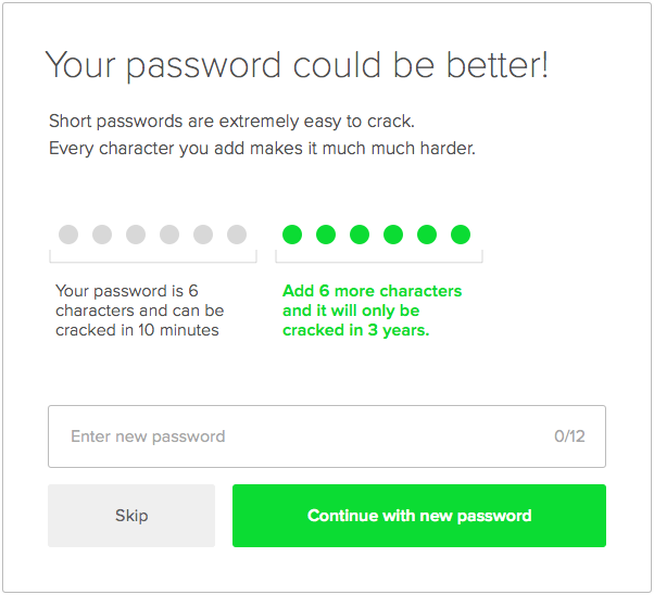 Password improvement modal